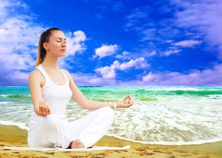 Young beautiful women in white, relaxation on the sunny tropical beach Stock Photo - 8255110