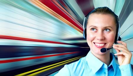Businesswomen and train on speed in railway station Stock Photo - 8254950