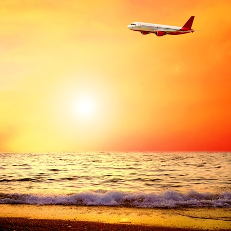 airplanes: Beautiful sea nature landscape on the sunrise sky with airplane