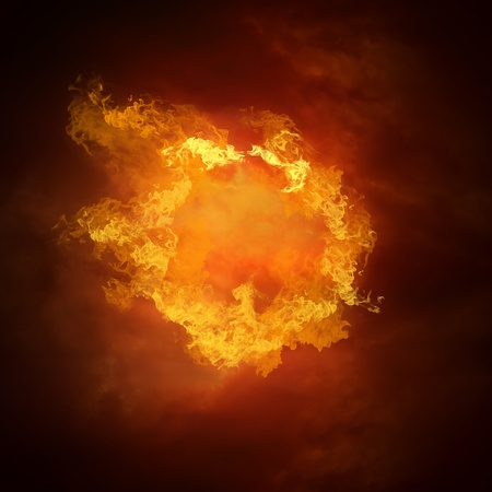 hell fire: Hot soccer ball on the speed in fires flame
