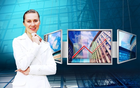 Happiness businesswoman on the business architecture background photo