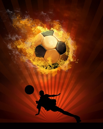 Hot soccer ball on the speed in fires flame Stock Photo - 8317941