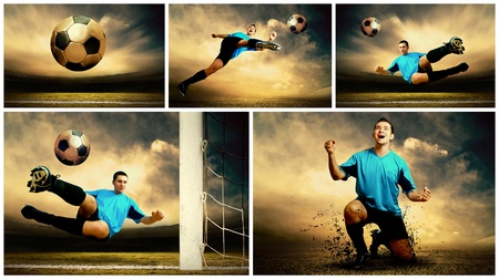 Collage of football images on the outdoor field photo