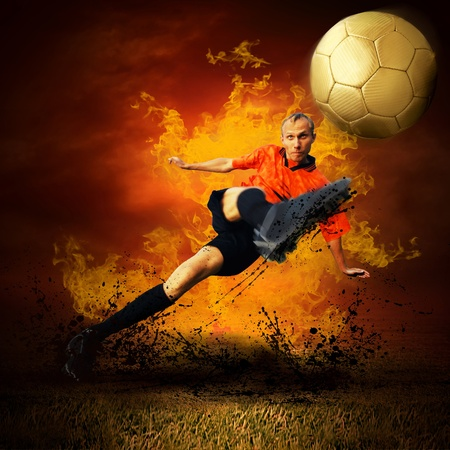 Football player in fires flame on the outdoors field Stock Photo - 8377723
