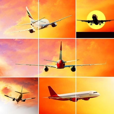 Collage of photos by airplanes at fly on the sky with clouds photo