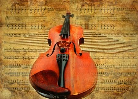 Retro musical  grunge violin background photo
