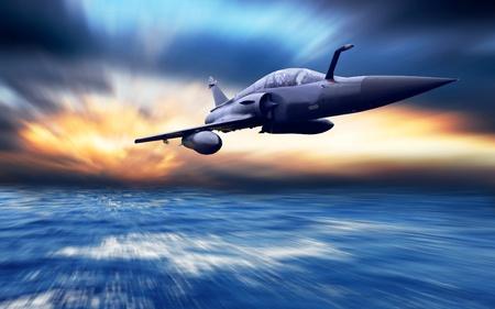 avion de chasse: Avion militaire sur la vitesse. Banque d'images