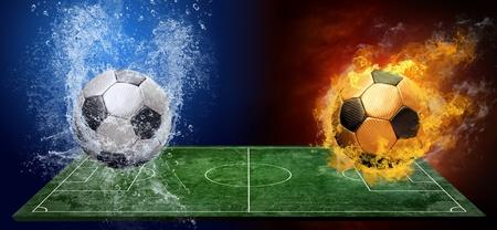 field  soccer: Gotas de agua y fuego llamas alrededor de bal�n de f�tbol en el fondo