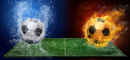 soccer field: Water drops and fire flames around soccer ball on the background
