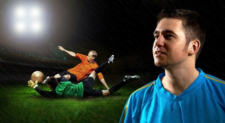 Portrait of Soccer player on the field in night rain Stock Photo - 8655278
