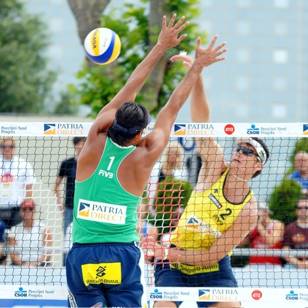 PRAGUE - JUNE 17: Ricardo Santos & Marcio Araujo team compete at SWATCH FIVB World Tour 2010 June 17, 2010 Prague