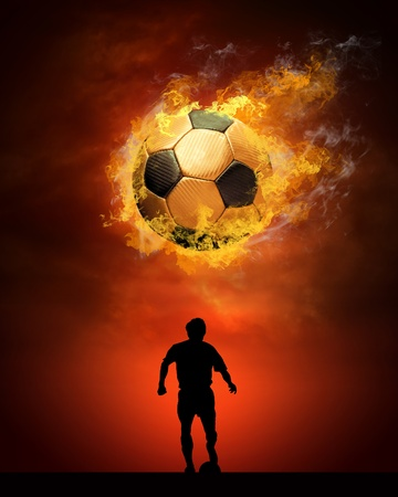 Hot soccer ball on the speed in fires flame photo