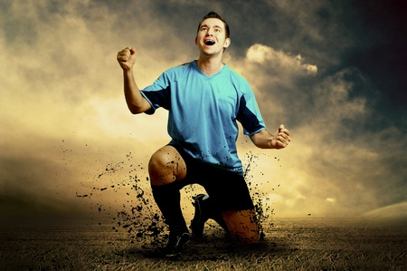 Shoot of football player on the outdoor field Stock Photo - 9059609