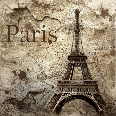Vintage view of Paris on the grunge background photo