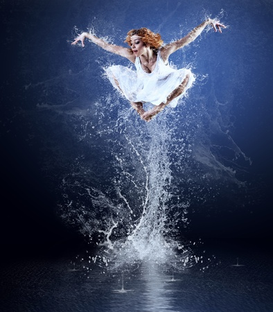 Dancers jump from water with splashes and drops Stock Photo - 9199700