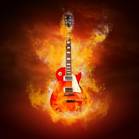 Rock guita in flames of fire Stock Photo - 9220293