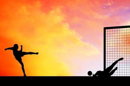 worldcup: Silhouettes of footballers on the sunset sky
