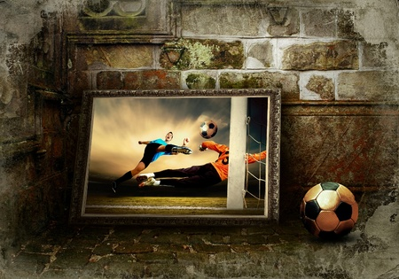 Abstract image of football player on the grunge background photo