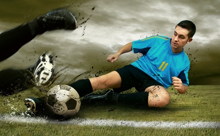 Soccer players on the field photo