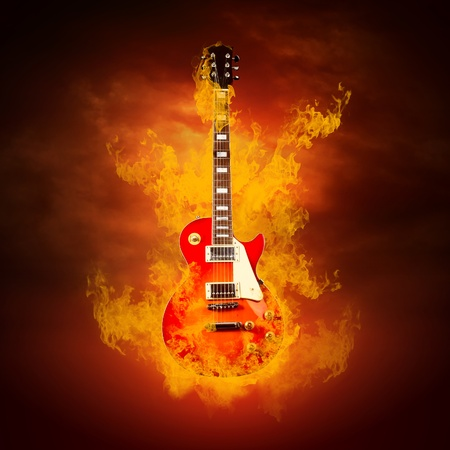 Rock guita in flames of fire photo