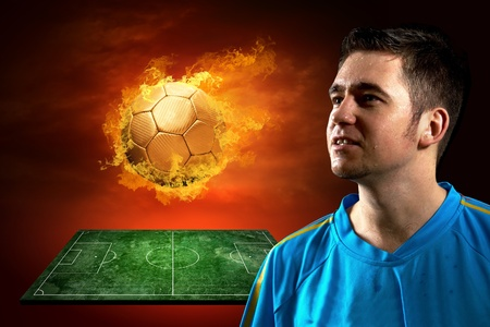 Football player and fire ball on the field photo