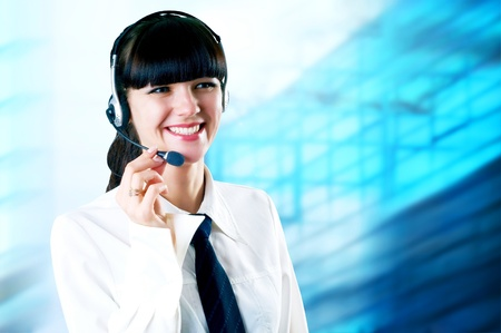 Hapiness Businesswoman standing on the business background Stock Photo - 9788878