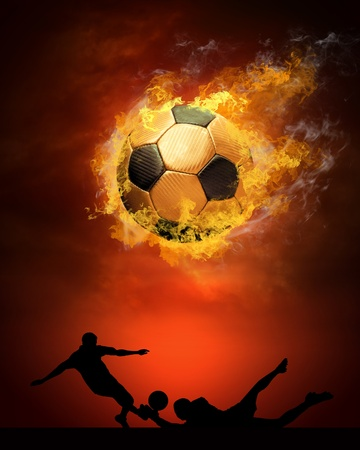 fire team: Hot soccer ball on the speed in fires flame