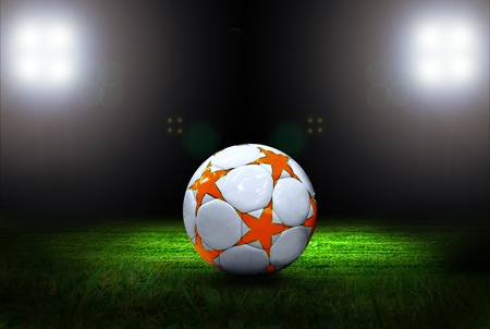 Soccer ball on the field of stadium with light Stock Photo - 9788991