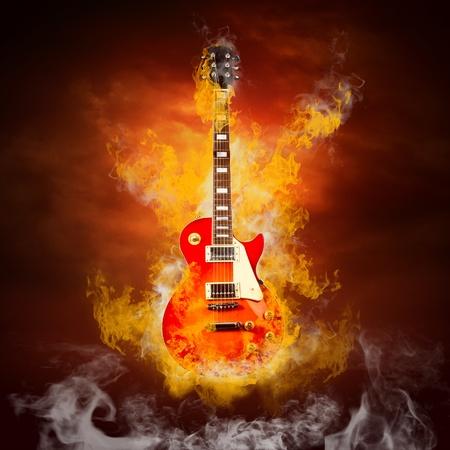 Rock guita in flames of fire Stock Photo - 9851040