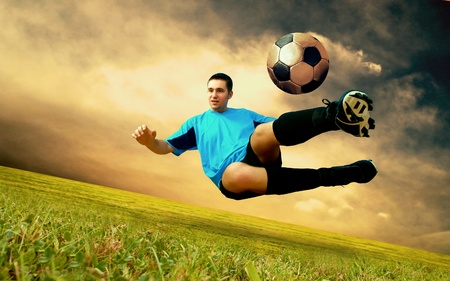 Happiness football player on field of sports competition stadium on sunrise sky Stock Photo - 9850956