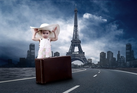 Little girl waiting on the road with her vintage baggage Stock Photo - 9851034