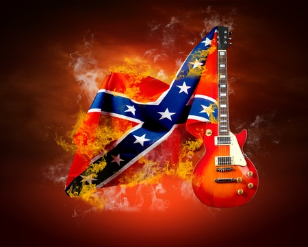 blues: Rock flag around fire flames