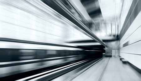 Train on speed in railway station Stock Photo - 9970842