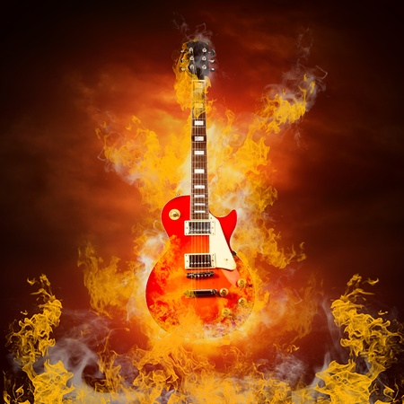 Rock guita in flames of fire Stock Photo - 10049452