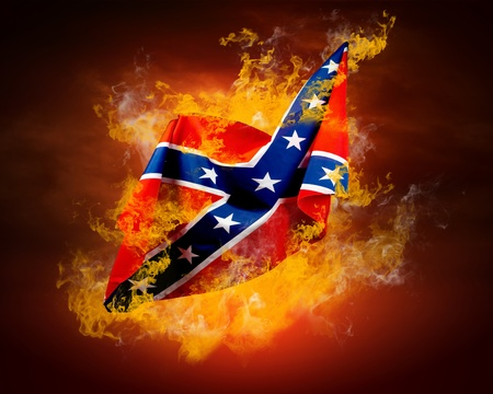 Rock flag around fire flames Stock Photo - 10049488