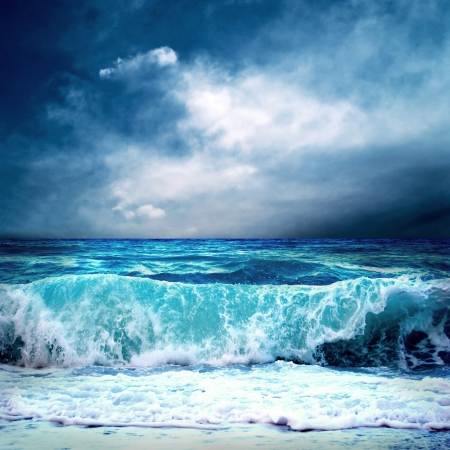 breaking wave: View of storm seascape Stock Photo