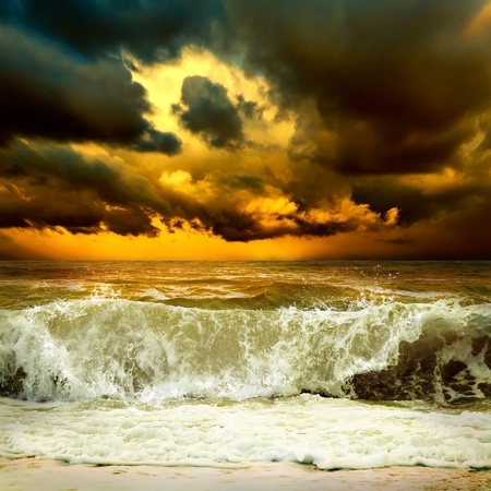 wind storm: View of storm seascape Stock Photo