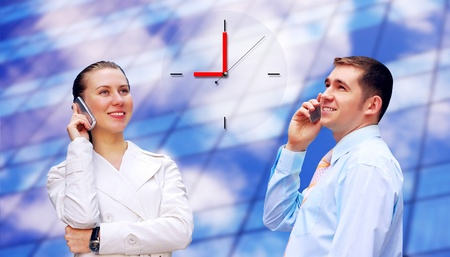 Happiness businessman calling on the business architecture background Stock Photo - 10232495