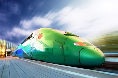 High-speed train with motion blur outdoor photo
