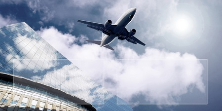 finanse: Airplane on  the blue sky  Stock Photo