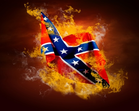 Rock flag around fire flames photo