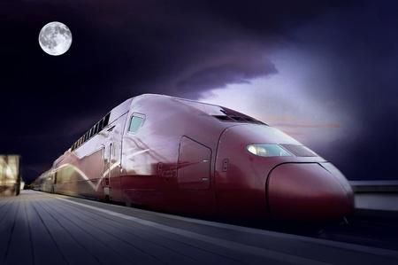 highspeed: High-speed train with motion blur outdoor