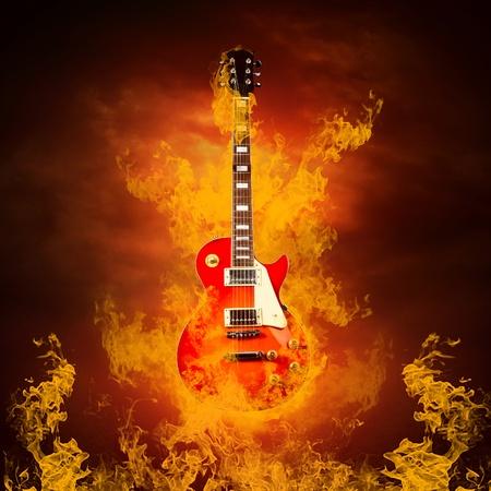 Rock guita in flames of fire Stock Photo - 10587738