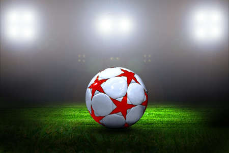 Soccer ball on the field of stadium with light photo