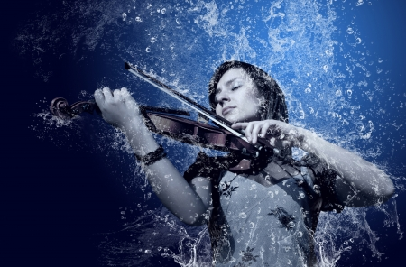 violas: Musician playing violin under water