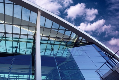Business buildings architecture on sky background  Stock Photo