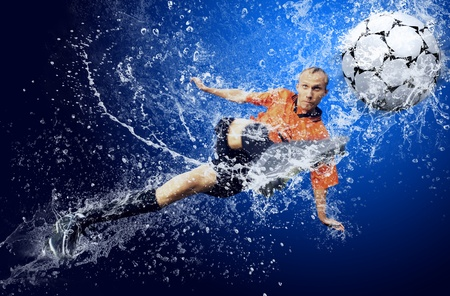 emulation: Water drops around football player under water on blue background