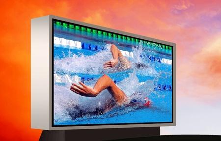 waterpool: Swimming waterpool on the electronic monitor