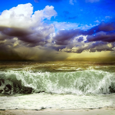 extreme danger: View of storm seascape Stock Photo
