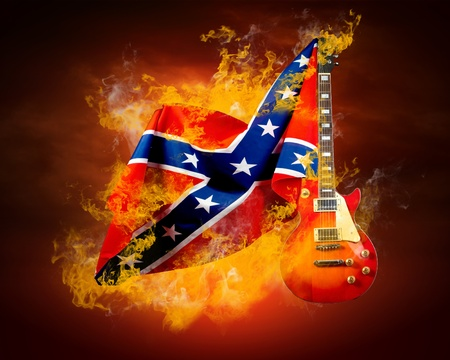 guitarists: Rock flag around fire flames